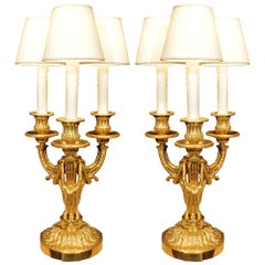 French Mid-19th Century Louis XVI St. Ormolu Three-Light Candelabra Lamps