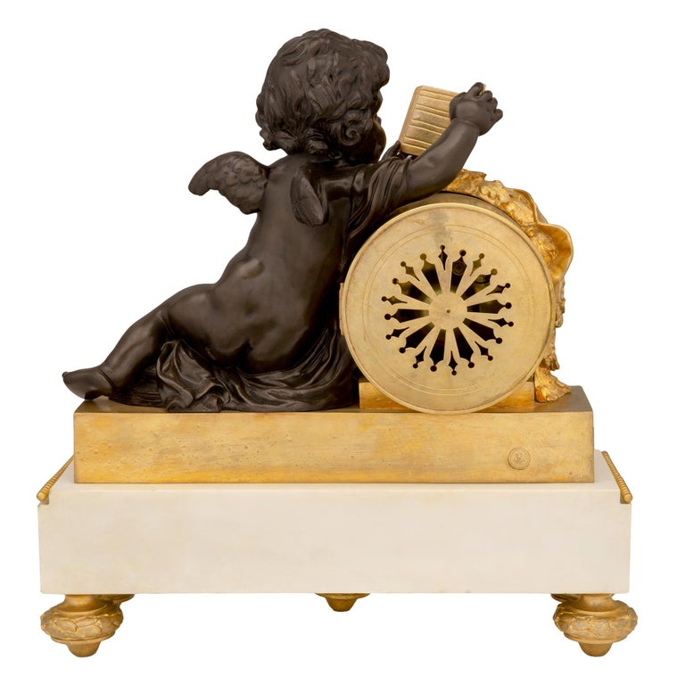 Mid-19th Century Louis XVI Style Patinated Bronze, Ormolu and Marble Clock For Sale 9