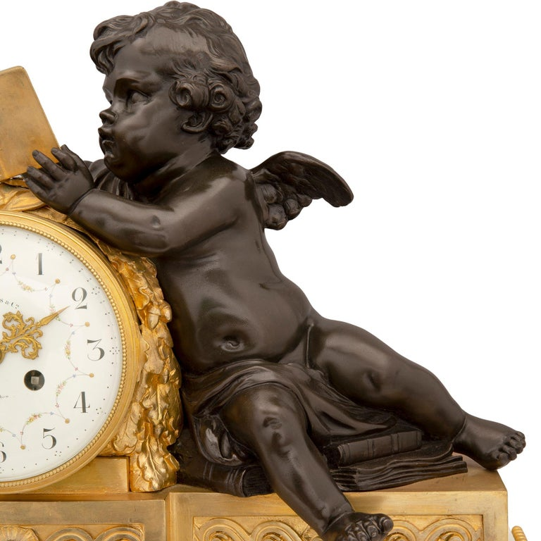 Mid-19th Century Louis XVI Style Patinated Bronze, Ormolu and Marble Clock In Excellent Condition For Sale In West Palm Beach, FL