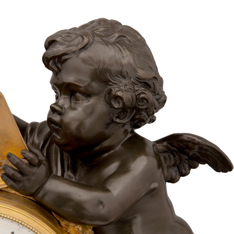Mid-19th Century Louis XVI Style Patinated Bronze, Ormolu and Marble Clock For Sale 1