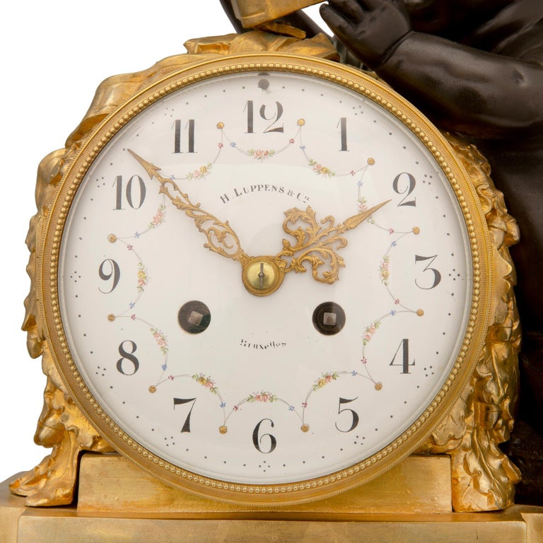 Mid-19th Century Louis XVI Style Patinated Bronze, Ormolu and Marble Clock For Sale 3