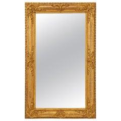 French Mid-19th Century Louis XVI St. Rectangular Giltwood Mirror