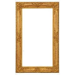French Mid 19th Century Louis XVI St. Rectangular Giltwood Mirror