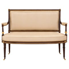 French mid 19th century Louis XVI st. solid mahogany and ormolu mounted settee