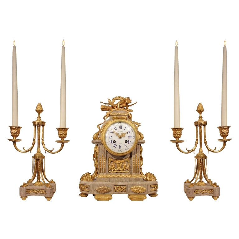 French Mid-19th Century Louis XVI Style Three-Piece Garniture Set For Sale