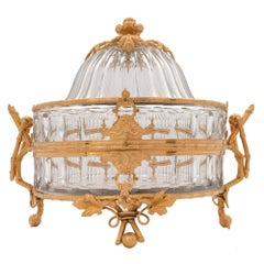 French Mid-19th Century Louis XVI Style Baccarat Crystal and Ormolu Centerpiece