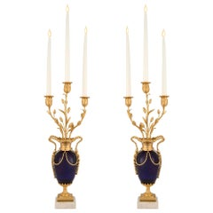 French Mid-19th Century Louis XVI Style Cobalt Blue Glass and Ormolu Candelabra