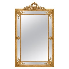French Mid-19th Century Louis XVI Style Double Framed Giltwood Mirror