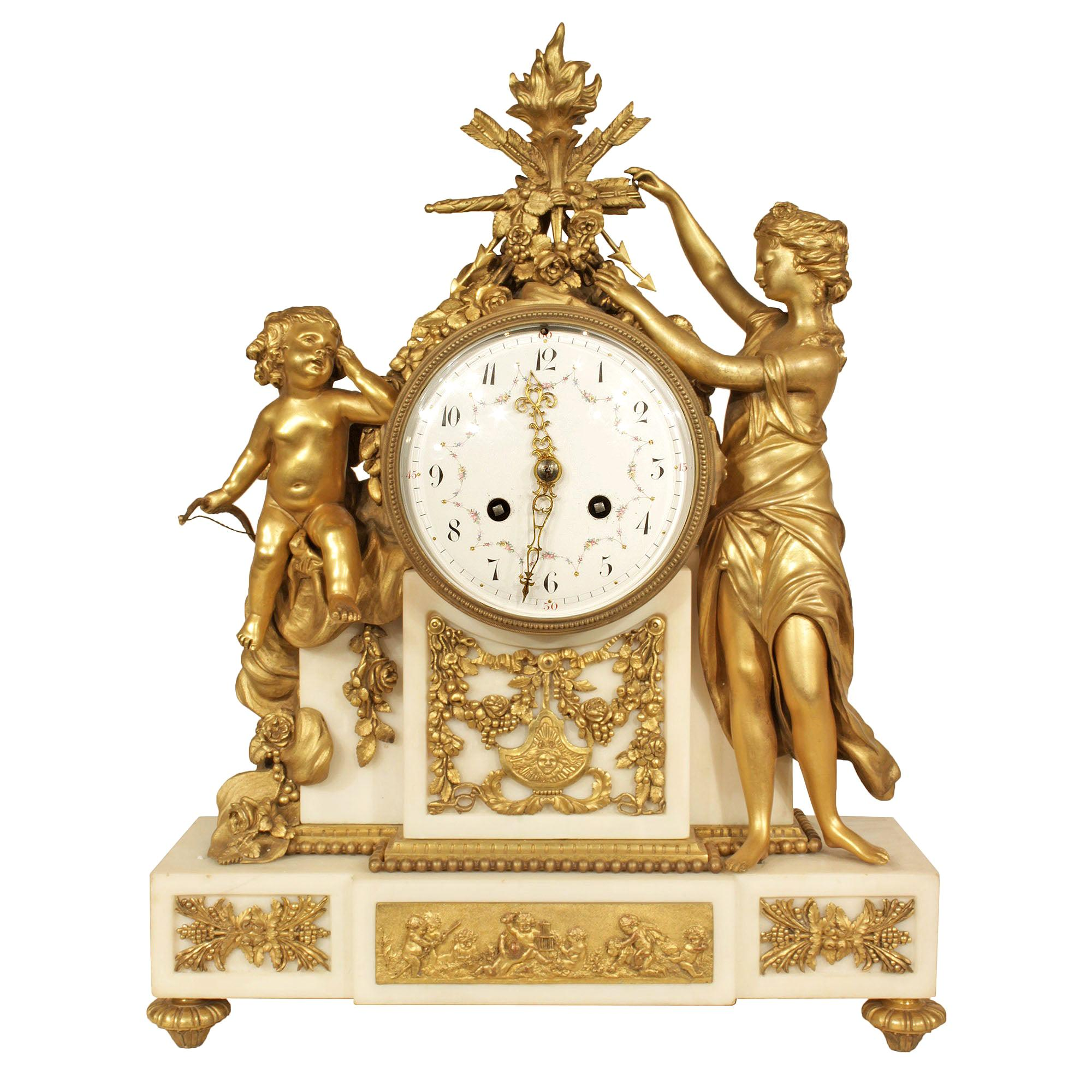 French Mid-19th Century Louis XVI Style Marble and Ormolu Clock