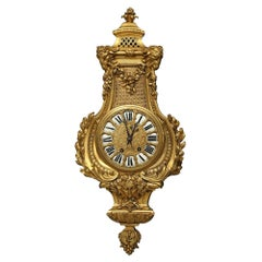 French Mid-19th Century Louis XVI Style Ormolu Cartel Clock, Signed 'Pons'