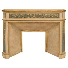 French Mid-19th Century Louis XVI Style Patinated and Giltwood Fireplace Mantel