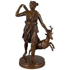 French Mid-19th Century Louis XVI Style Patinated Bronze Statue