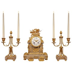 French Mid-19th Century Louis XVI Style Three-Piece Garniture Set