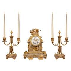 French Mid-19th Century Louis XVI Style Three-Piece Garniture Set