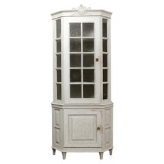 French Mid-19th Century Louis XVI Style Two-Part Vitrine with Original Finish