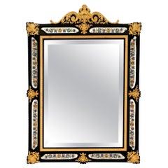 French Mid-19th Century Napoleon III Period Ebony and Ormolu Mirror