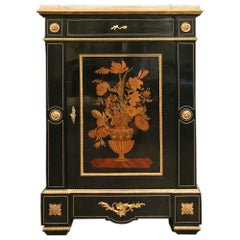 French Mid-19th Century Napoleon III Style Ebony and Marquetry Cabinet