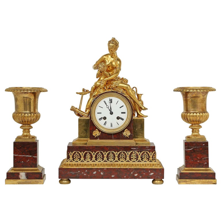 French mid 19th century neo-classical st. garniture set signed Japy Freres For Sale