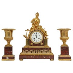 French Mid-19th Century Neoclassical St. Garniture Set Signed Japy Freres