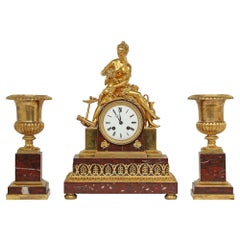 French Mid-19th Century Neo-Classical St. Garniture Set Signed Japy Freres