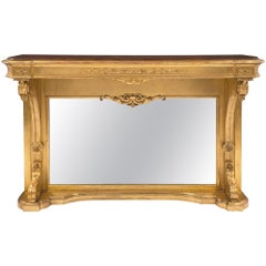 French Mid-19th Century Neoclassical Style Giltwood Console