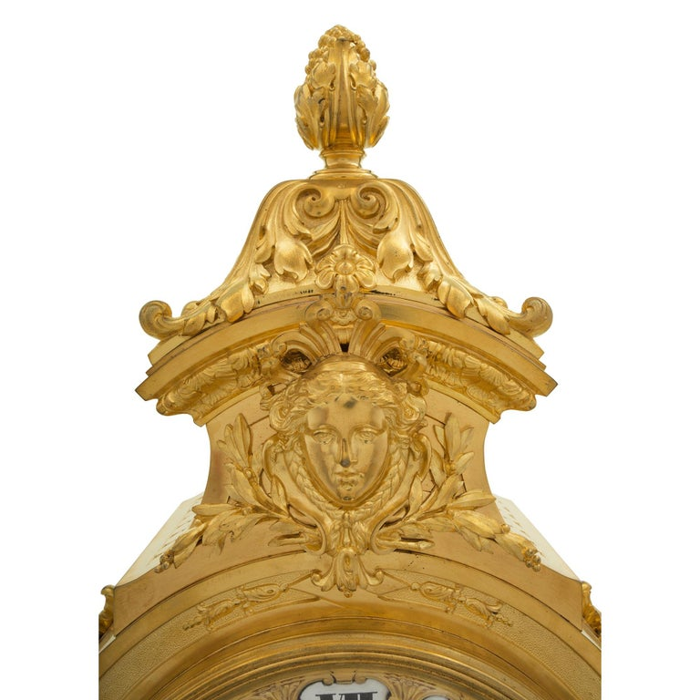 French Mid-19th Century Ormolu Three-Piece Garniture Clock Set For Sale 1