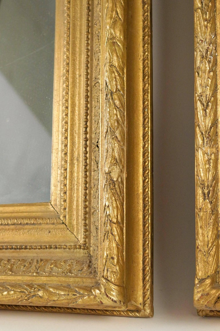 Carved French Mid-19th Century Pair of Giltwood Mirror, circa 1860 For Sale