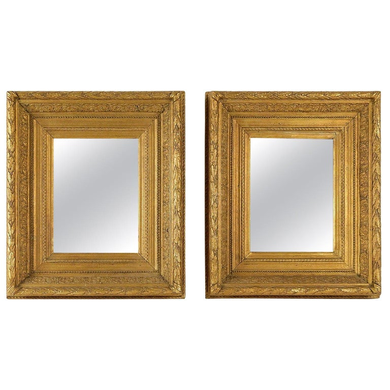 French Mid-19th Century Pair of Giltwood Mirror, circa 1860 For Sale