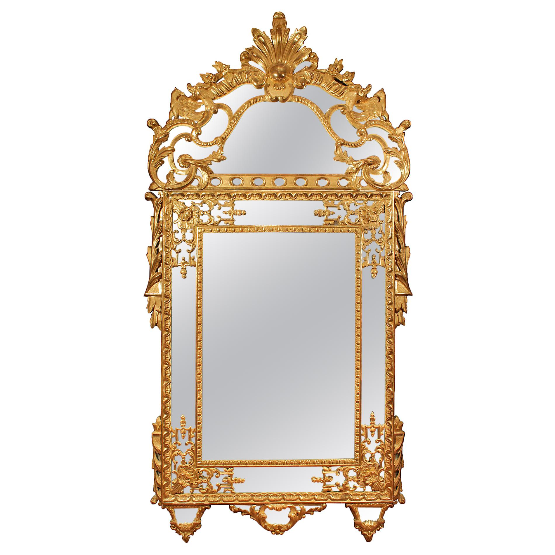 French Mid-19th Century Regence Style Giltwood Double Framed Mirror