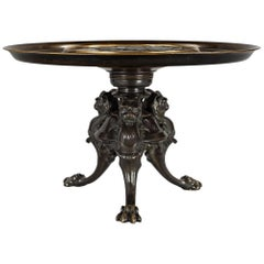 French Mid-19th Century Renaissance Style Patinated Bronze and Gilt Tazza