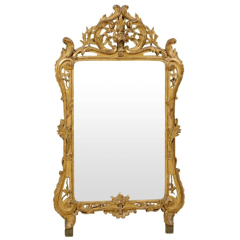 French Mid-19th Century Richly Carved Gilded Wood Mirror