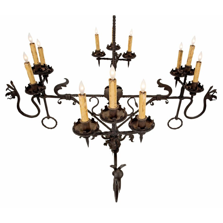 French Mid-19th Century Wrought Iron Twelve-Light Chandelier In Excellent Condition For Sale In West Palm Beach, FL