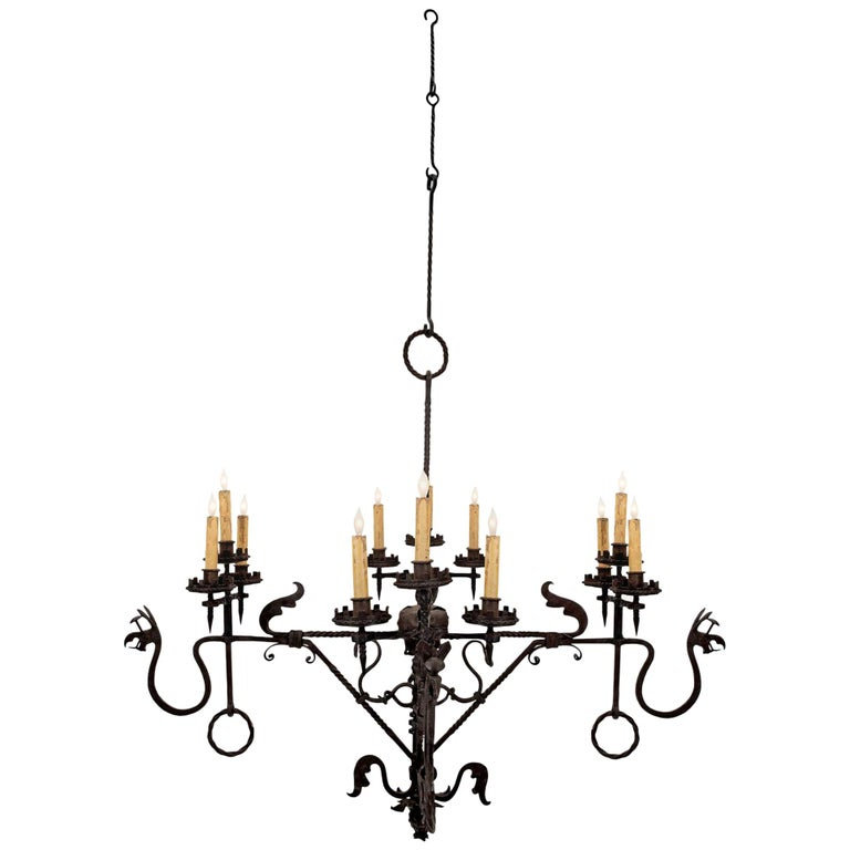 French Mid-19th Century Wrought Iron Twelve-Light Chandelier For Sale