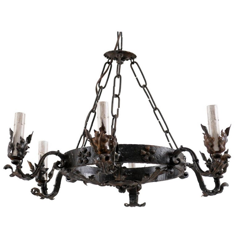 Mid-20th Century Ring Shaped Dark Iron Chandelier with Floral and Leaf Motifs