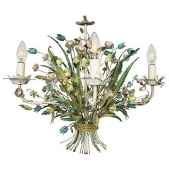 French Mid-20th Century 5 Branch Toleware Chandelier