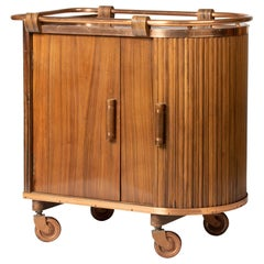 French Mid-20th Century Bar Cart Trolley with Sliding Door