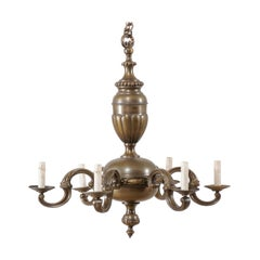 French Mid-20th Century Bronze Chandelier with Six Lights