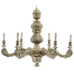 French Mid-20th Century Carved and Painted Wood Six-Light Chandelier