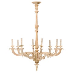 French Mid-20th Century Carved Wood Chandelier with White Painted Accents
