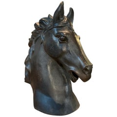 French Mid-20th Century Cast Iron Horsehead