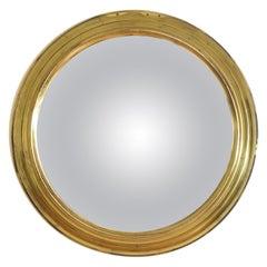 French Mid-20th Century Circular Convex Brass Mirror