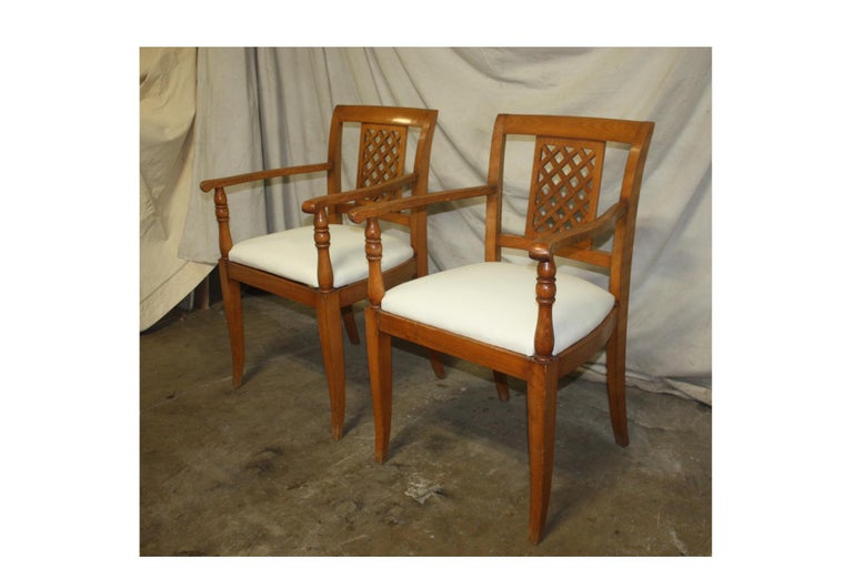 French mid-20th century Directoire style armchairs.