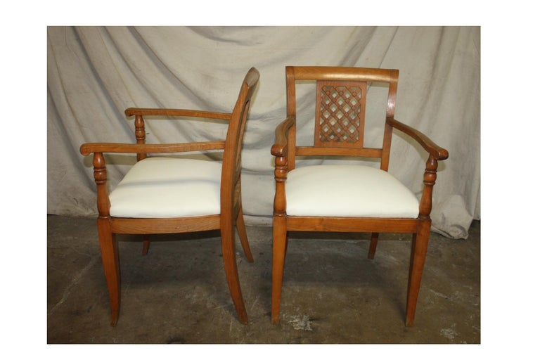 Cherry French Mid-20th Century Directoire Style Armchairs For Sale