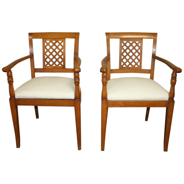 French Mid-20th Century Directoire Style Armchairs For Sale