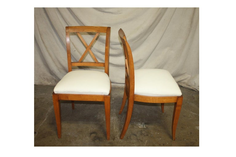 Cherry French Mid-20th Century Directoire Style Dining Chairs For Sale
