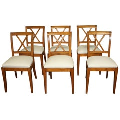 French Mid-20th Century Directoire Style Dining Chairs