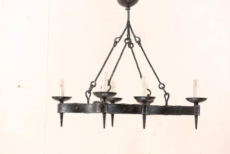 French Mid-20th Century Forged Iron Black Six-Light Chandelier In Good Condition For Sale In Atlanta, GA