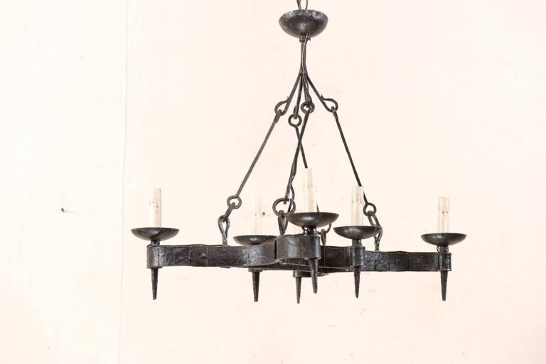 French Mid-20th Century Forged Iron Black Six-Light Chandelier For Sale 1