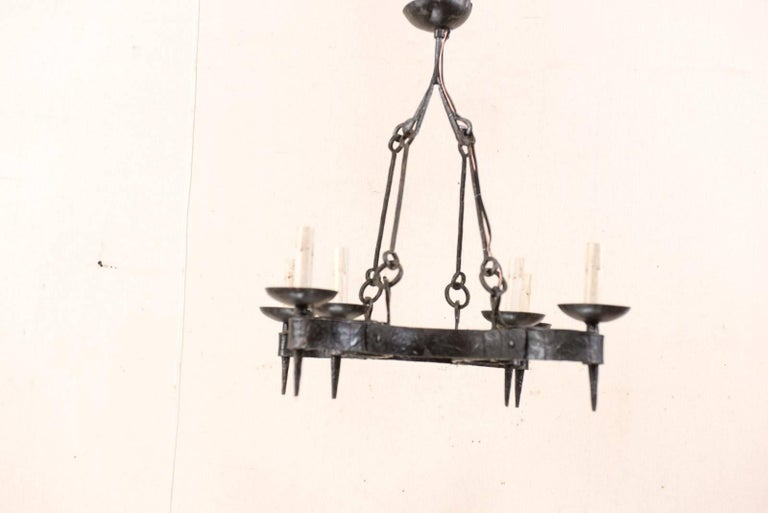 French Mid-20th Century Forged Iron Black Six-Light Chandelier For Sale 3