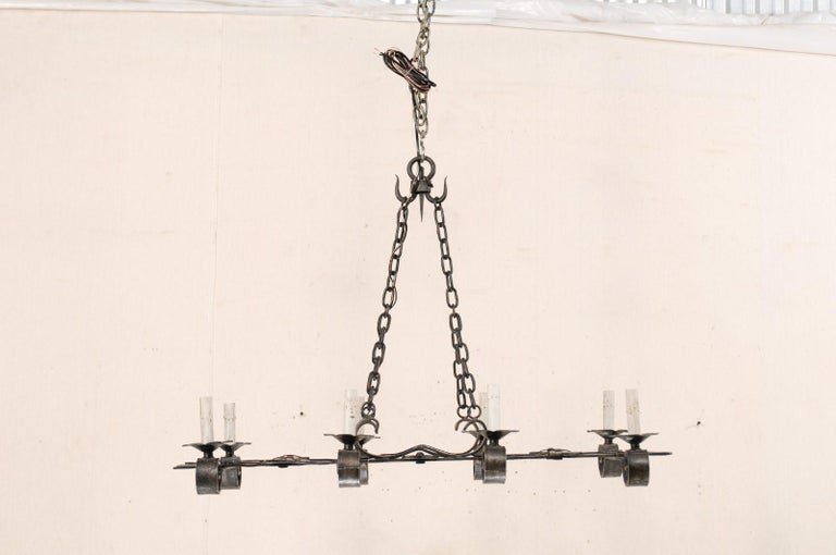 French Mid-20th Century Forged-Iron Chandelier For Sale 1